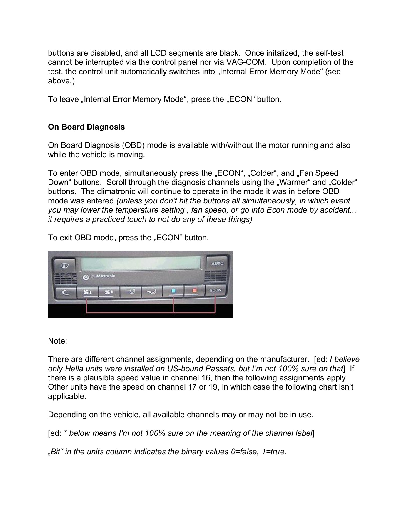 Self-Diagnostics on the VW Climatronic (by Hella) Pages 1 - 7 - Text