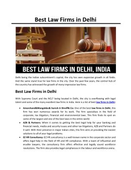 Get the Best Law Firms in Delhi