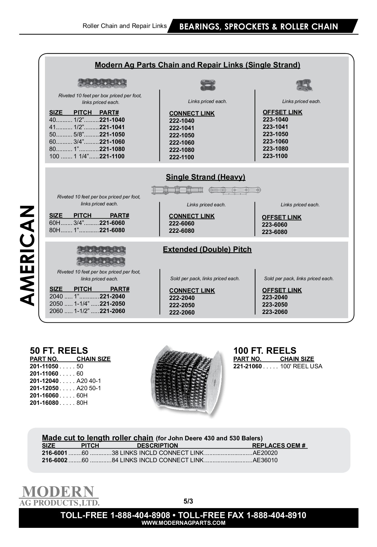 BEARINGS, SPROCKETS & ROLLER CHAIN - Modern USA Pages 1 - 41 - Text