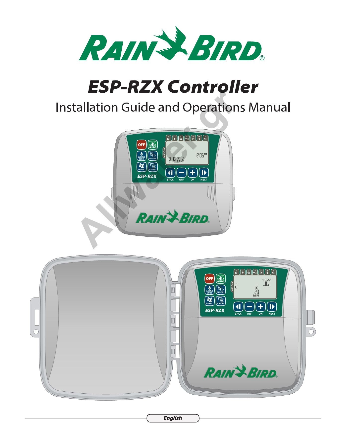 Manual Rainbird ESP-RZX (Eng) Pages 1 - 17 - Text Version ... on