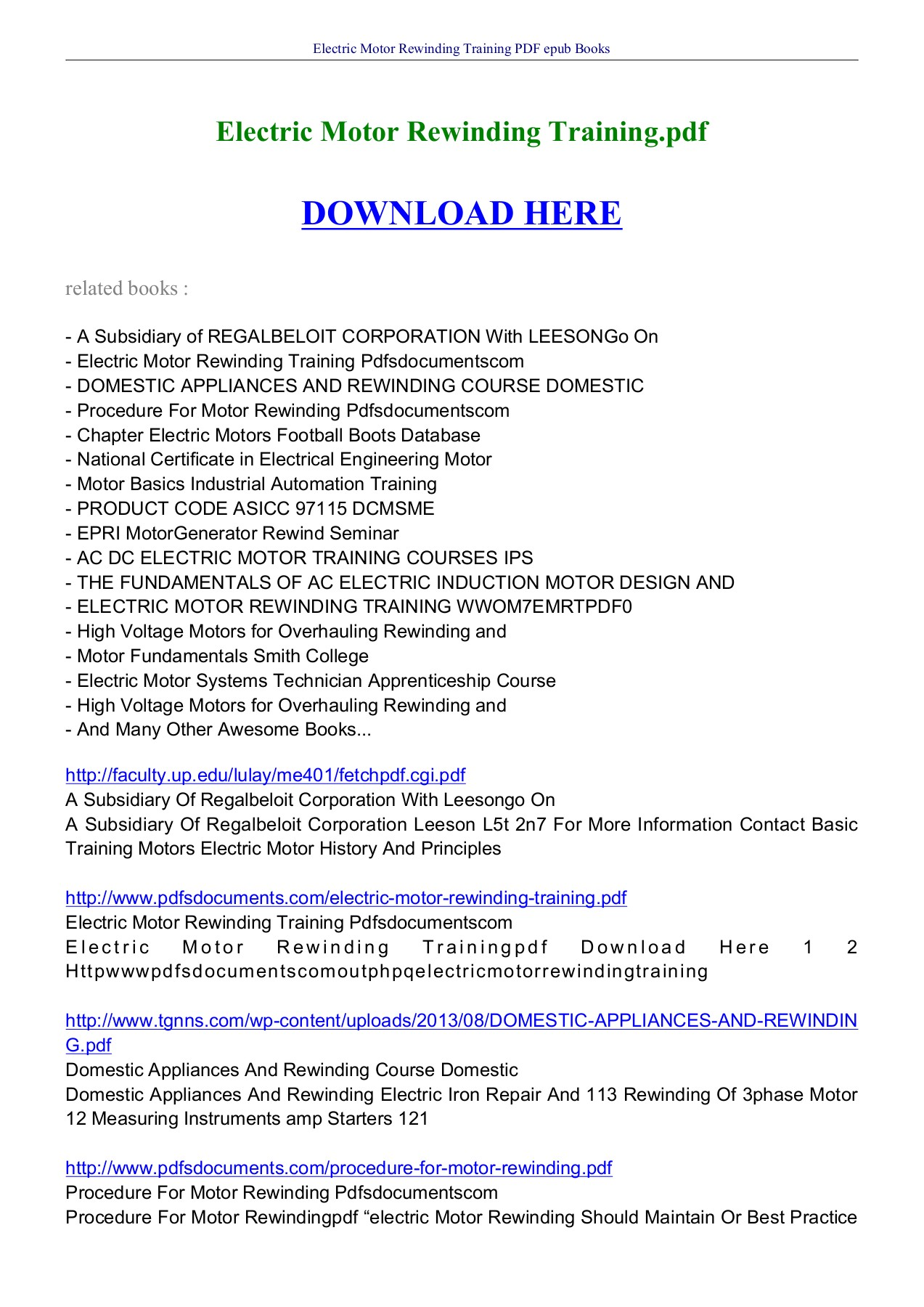 Electric Motor Rewinding Training Pdf Books Ebookread Pages 1 6 Text Version Anyflip