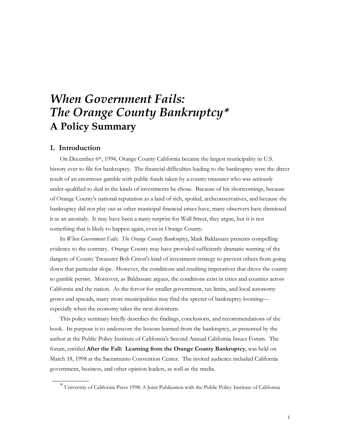 When Government Fails: The Orange County Bankruptcy