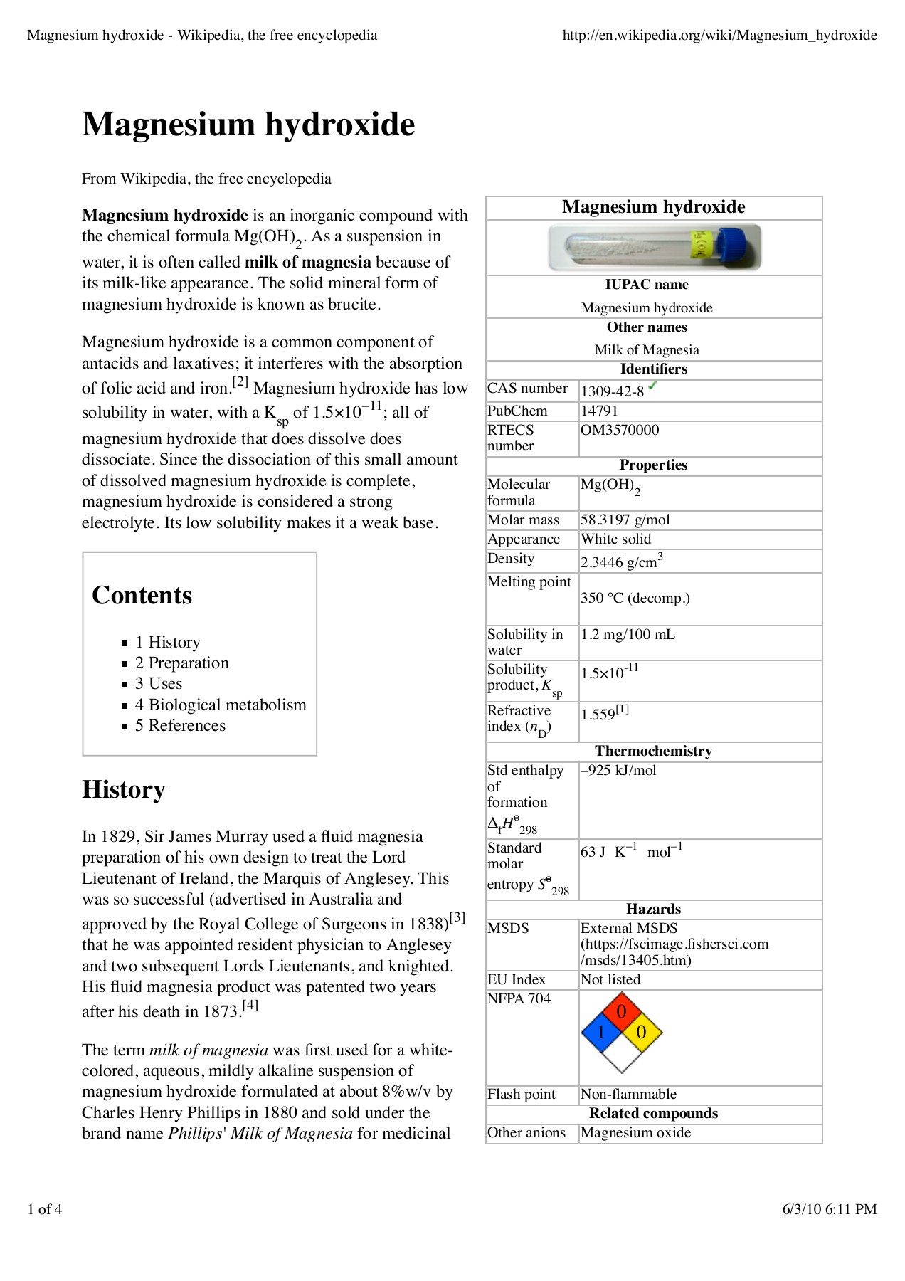 Magnesium hydroxide - Wikipedia, the free encyclopedia Pages