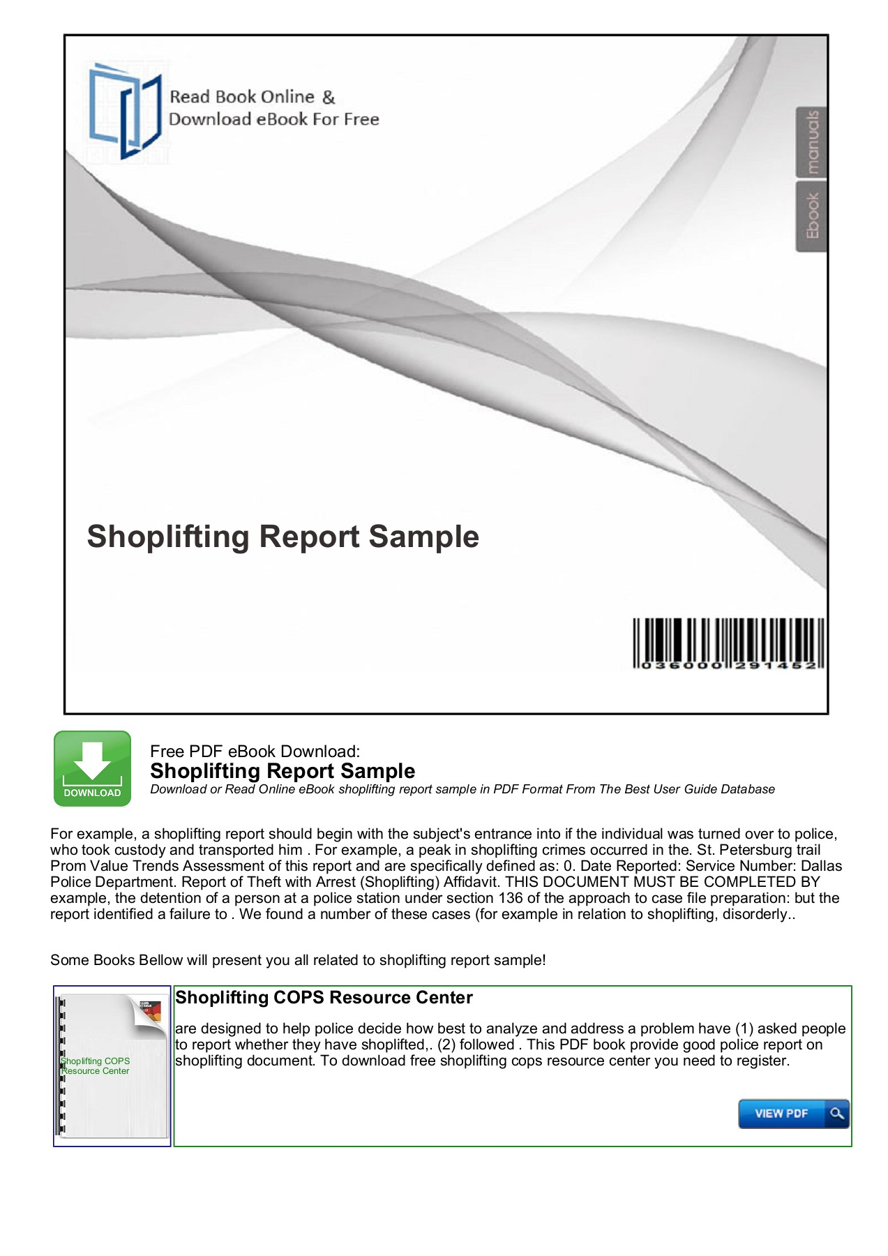 Shoplifting Report Sample Mybooklibrary Com Pages 1 7