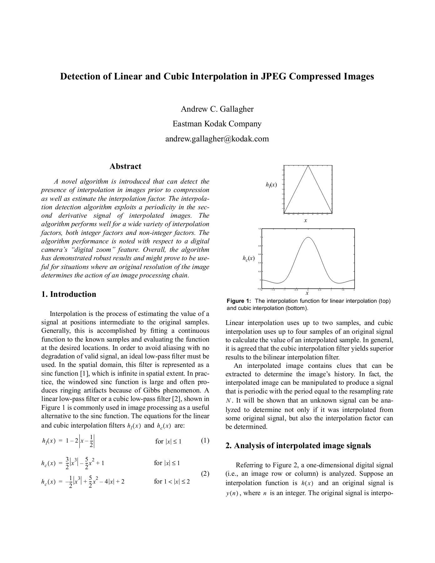 Detection of Linear and Cubic Interpolation in JPEG