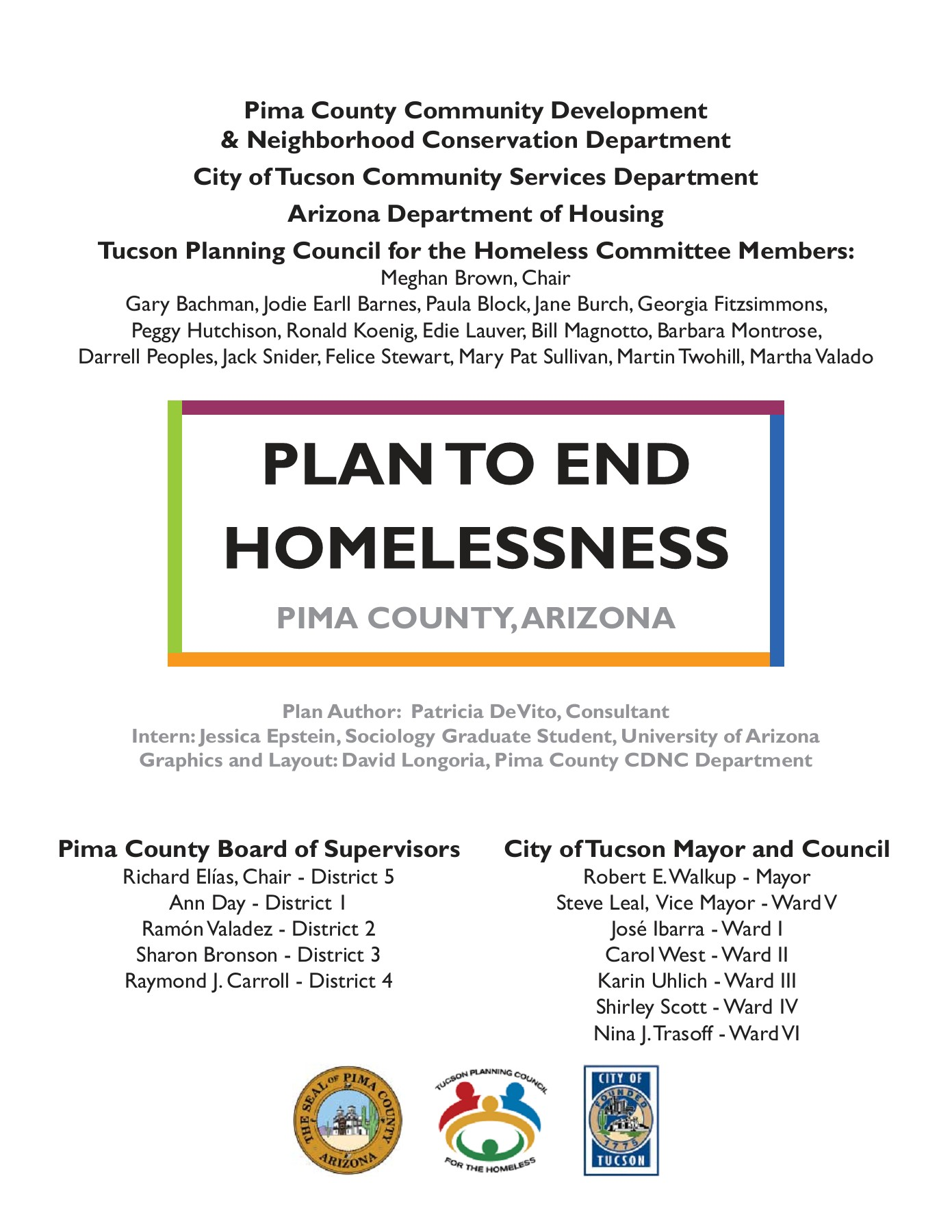 Plan to End Homelessness (pdf) - Tucson Pages 1 - 50 - Text Version