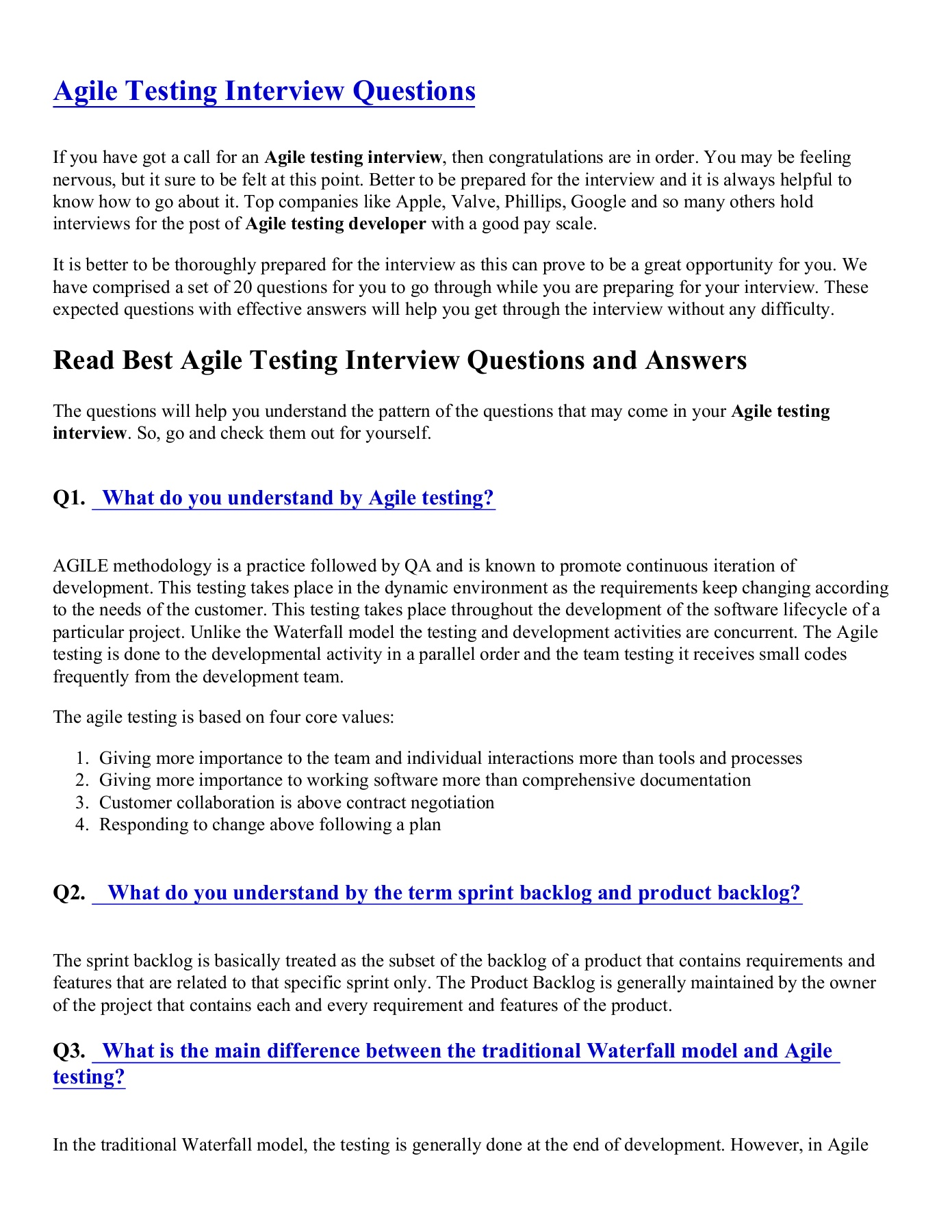 Agile testing interview Questions Series | AnyFlip