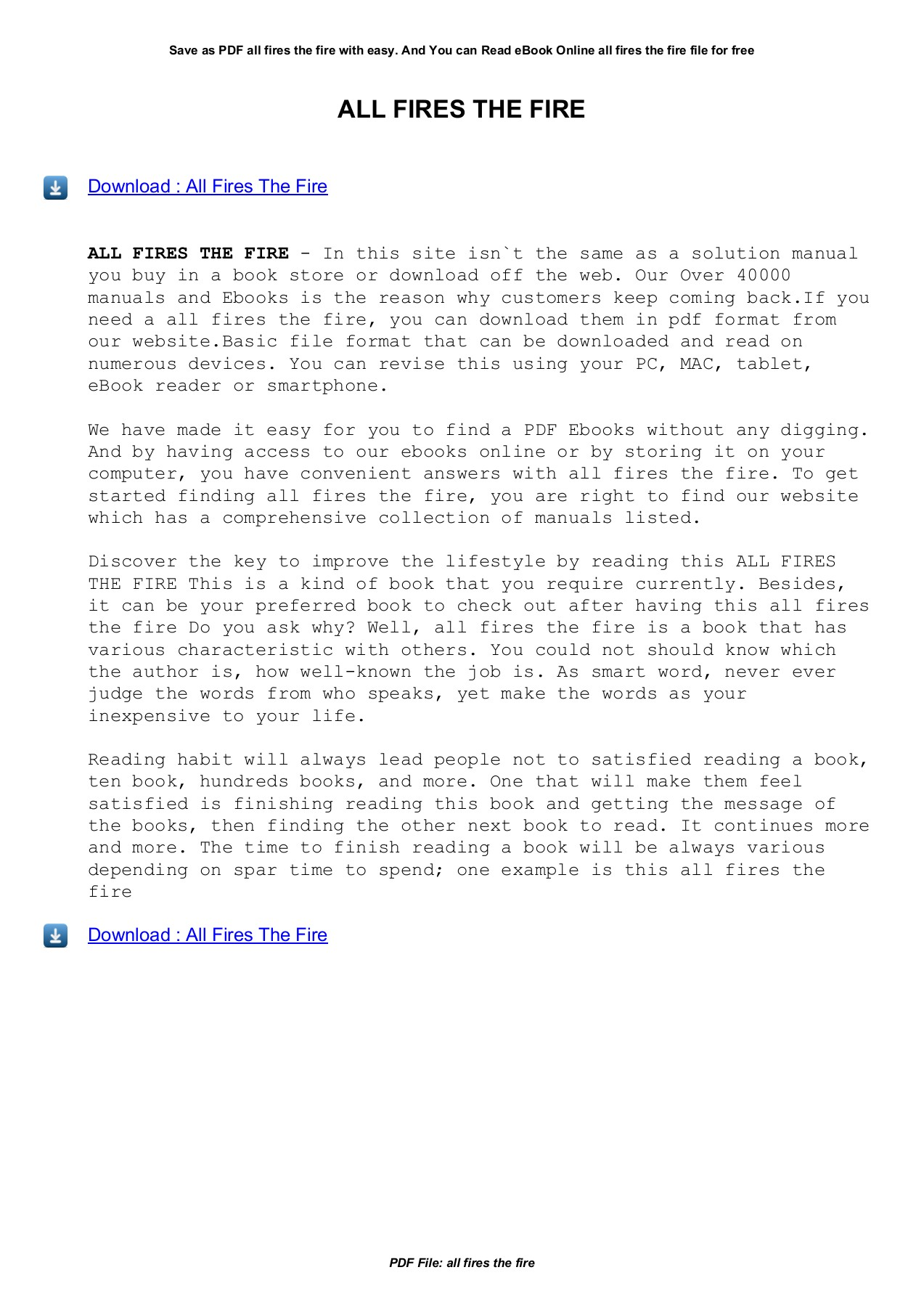 All Fires The Fire Aaacomm Info Pages 1 3 Text Version