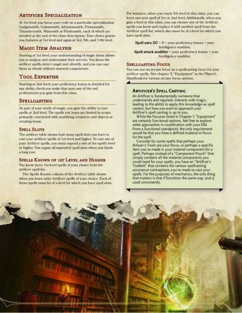 5e Revised Artificer Gm Binder Pages 1 42 Text Version Anyflip Two (2) cantrips from the artificer spell list. anyflip