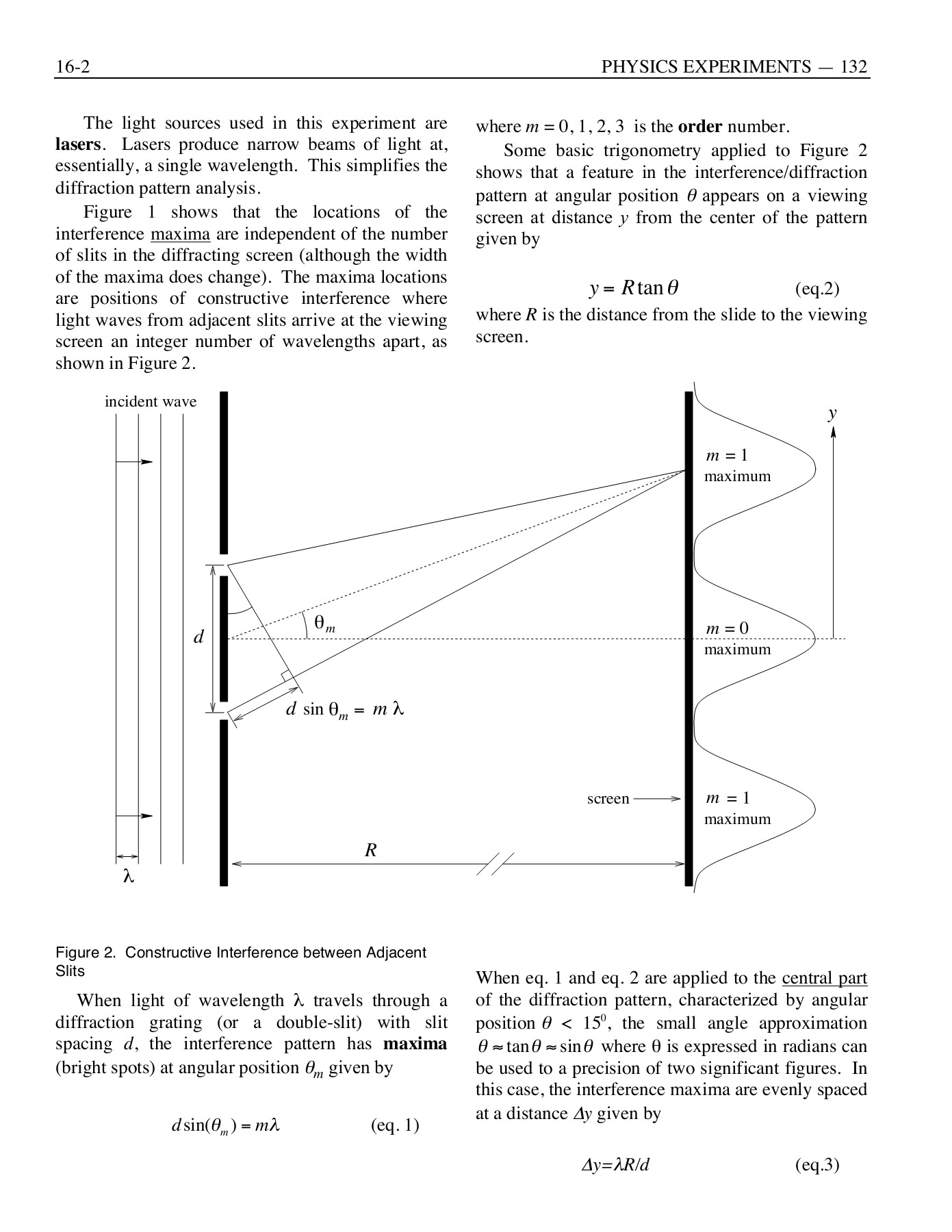 Experiment 16 Diffraction and Interference of Light Pages 1