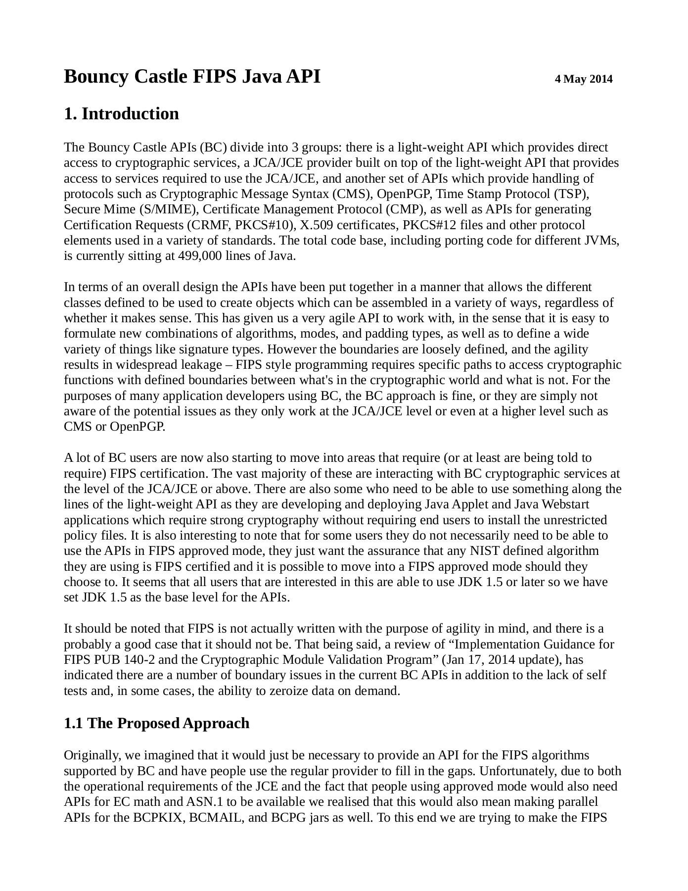 Bouncy Castle FIPS Java API 4 May 2014 Pages 1 - 12 - Text Version