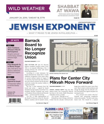 Jewish Exponent Jan  24, 2019 Pages 1 - 36 - Text Version
