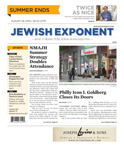 Jewish Exponent Aug  29, 2019 Pages 1 - 32 - Text Version