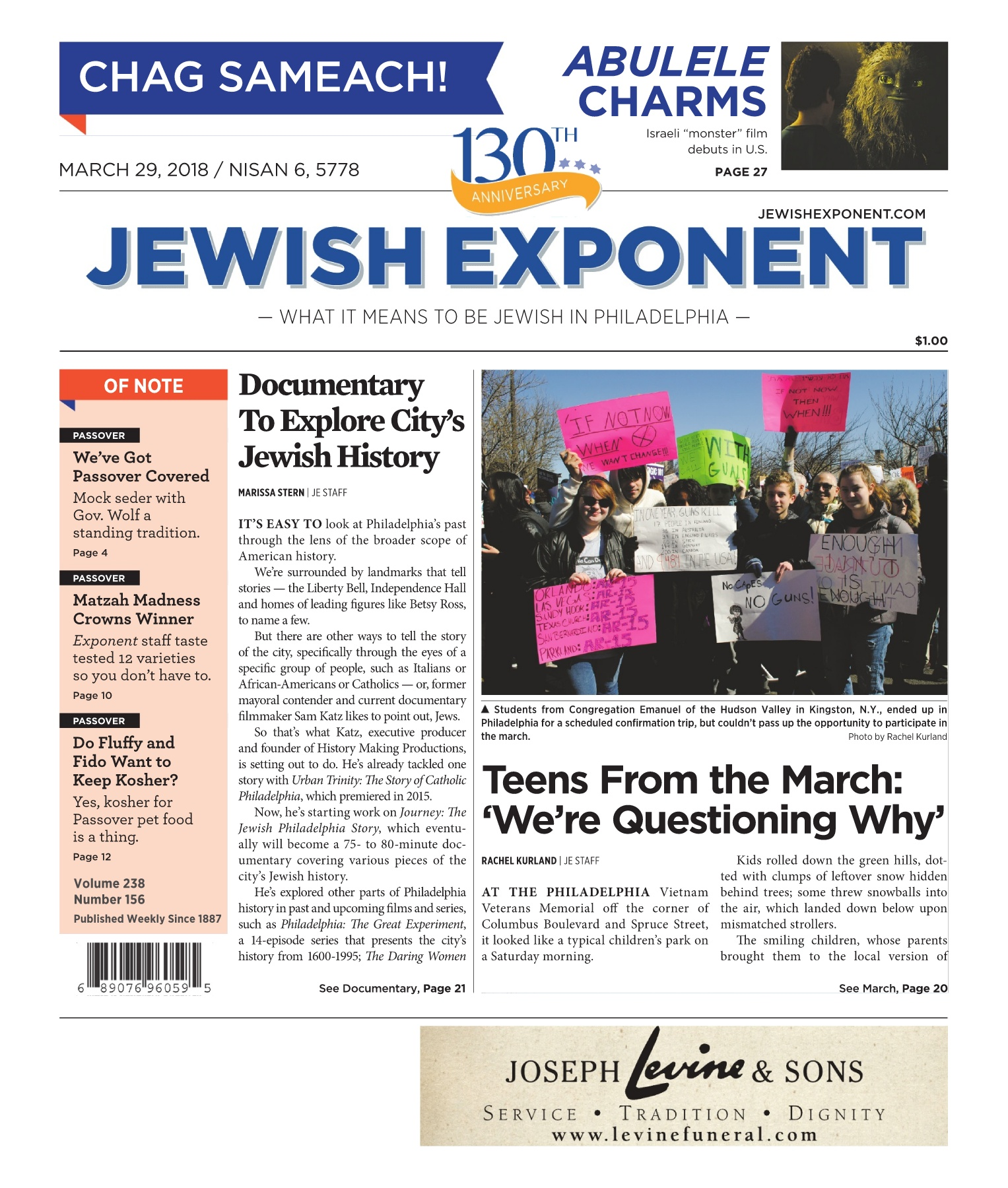 Jewish Exponent March 29, 2018 Pages 1 - 44 - Text Version