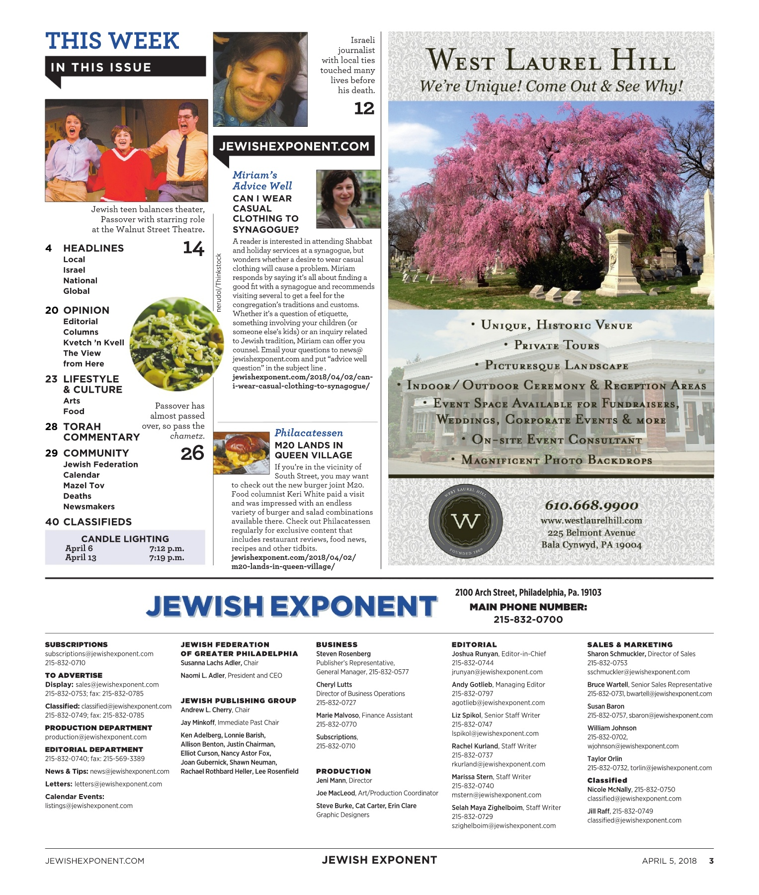 Jewish Exponent April 5, 2018 Pages 1 - 48 - Text Version