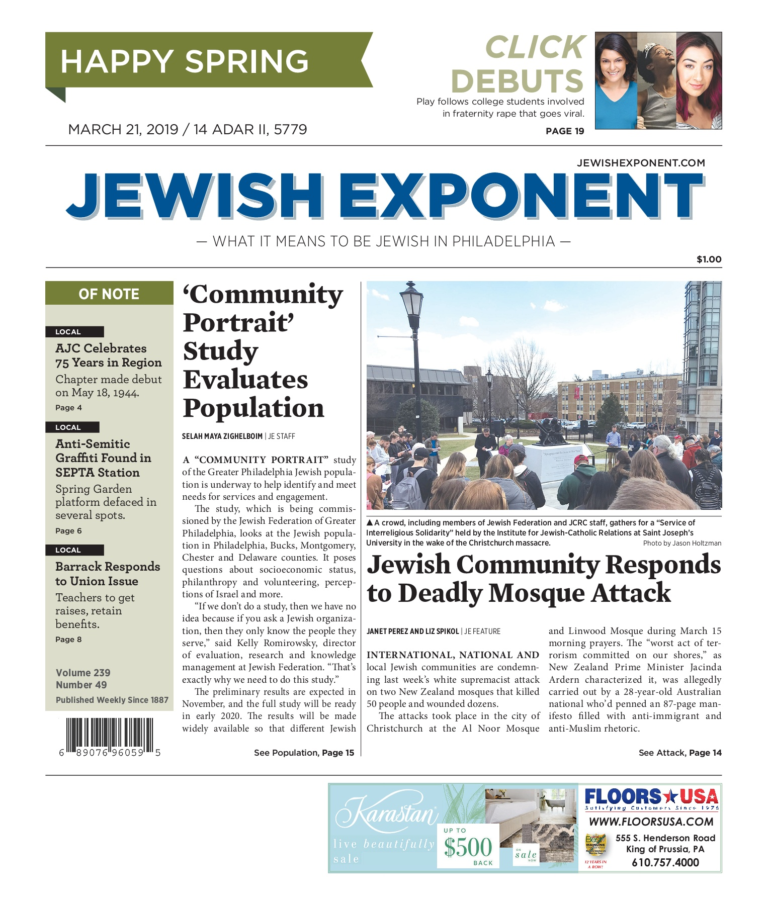 Jewish Exponent March 21, 2019 Pages 1 - 40 - Text Version