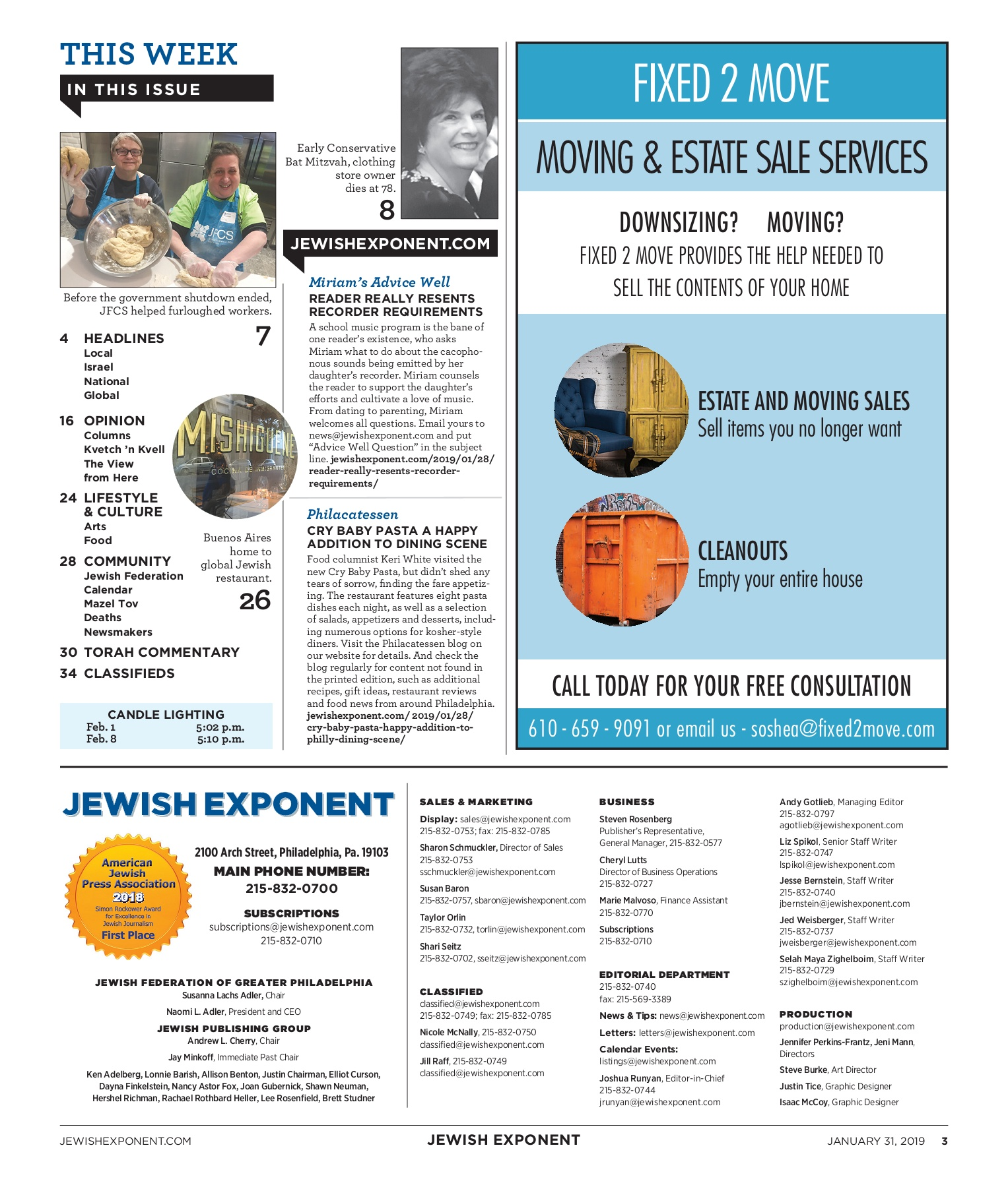 Jewish Exponent Jan  31, 2019 Pages 1 - 40 - Text Version | AnyFlip