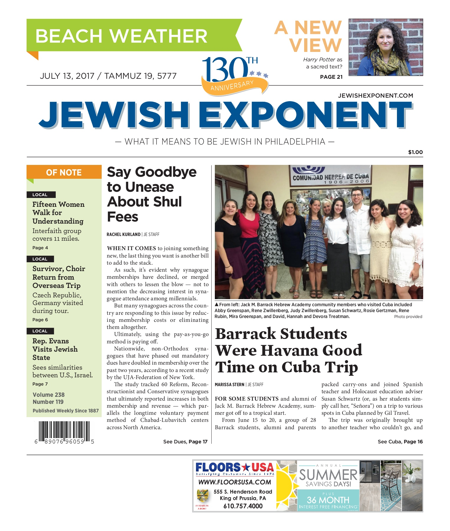 Jewish Exponent July 13, 2017 Pages 1 - 36 - Text Version