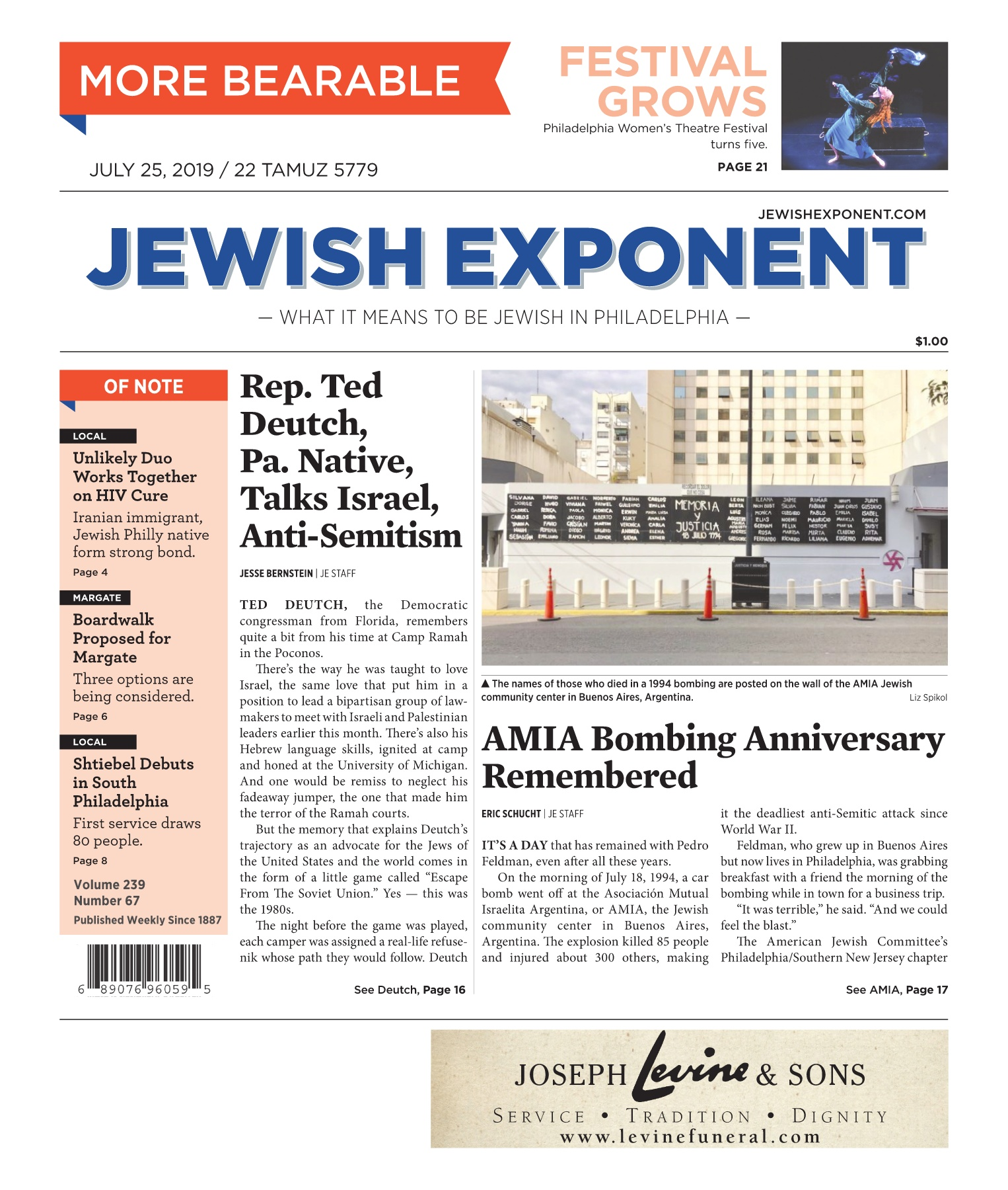 Jewish Exponent July 25, 2019 Pages 1 - 36 - Text Version