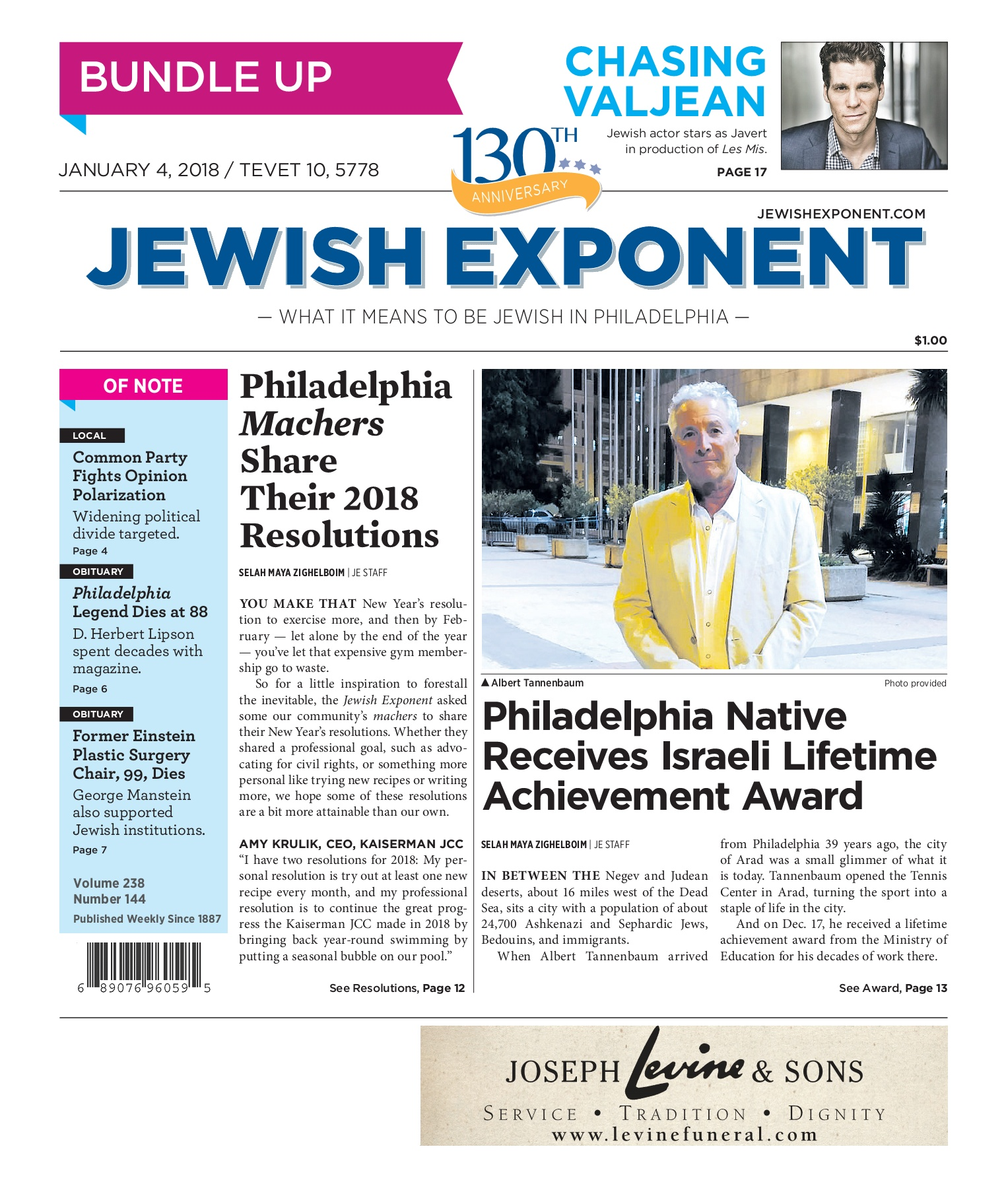 Jewish Exponent Jan  4, 2018 Pages 1 - 32 - Text Version
