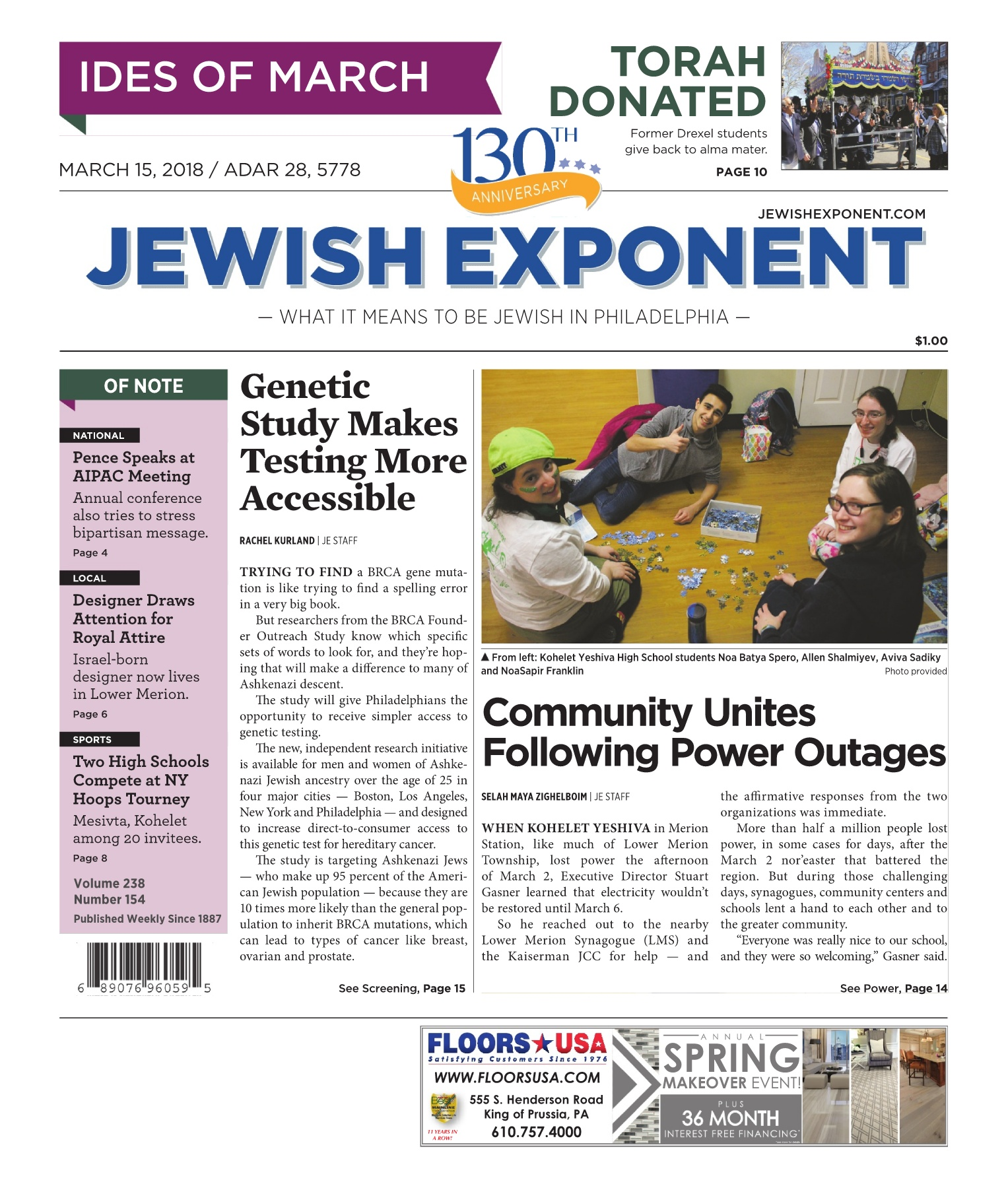 Jewish Exponent March 15, 2018 Pages 1 - 36 - Text Version