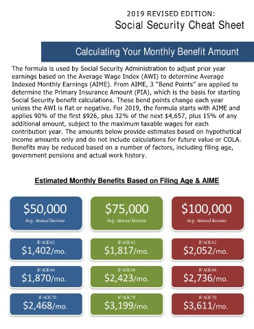 Page 6 - 2019 Social Security Cheat Sheet