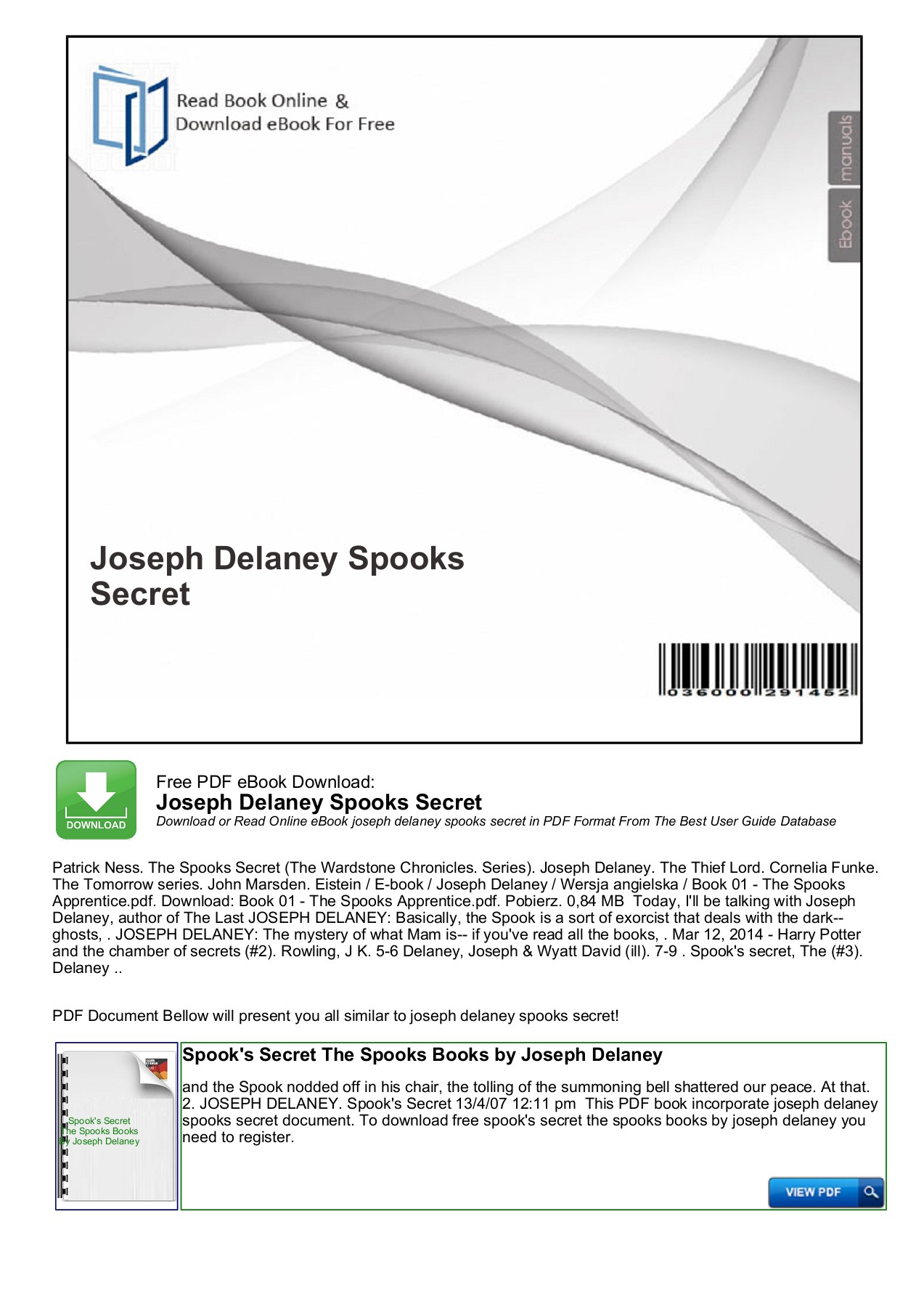 The Spooks Secret Pdf