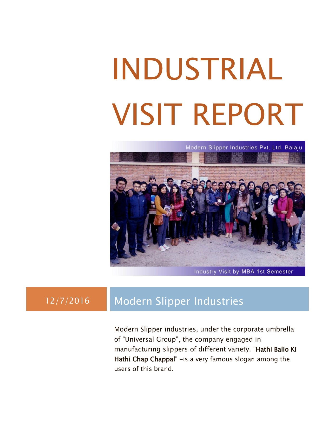 Industrial visit report KDBC Pages 1 - 17 - Text Version | AnyFlip