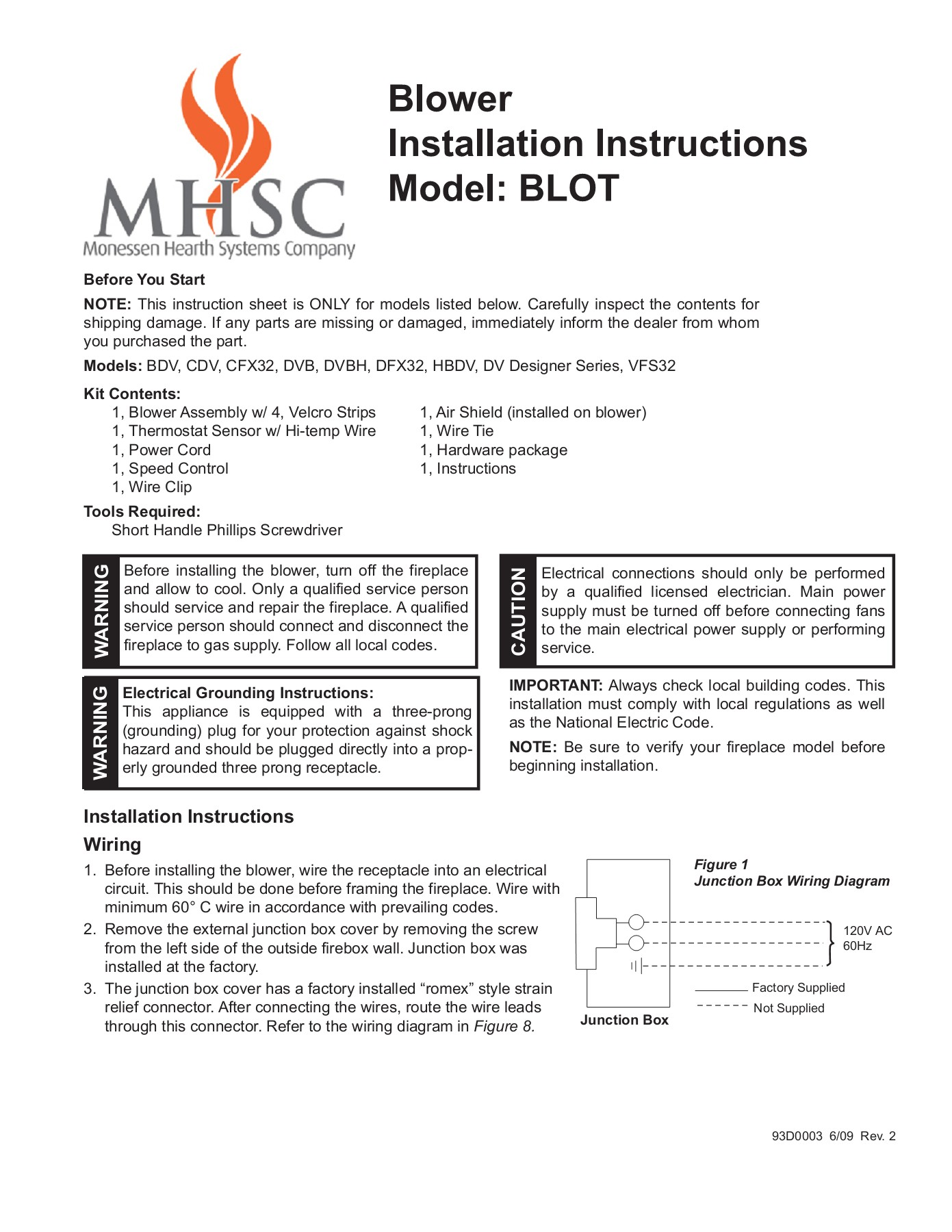 Blower Installation Instructions Model Blot Junction Box Wiring Regulations