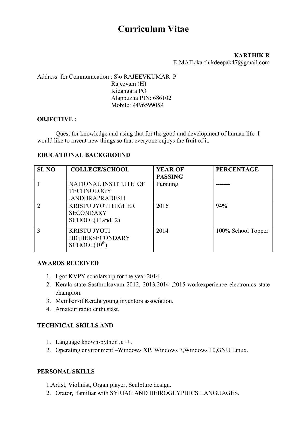 Karthik Resume Pages 1 1 Text Version Anyflip