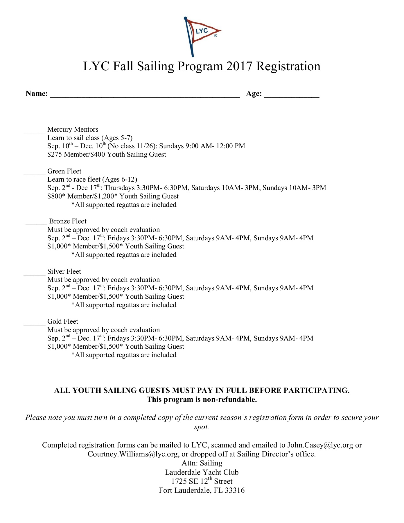 LYC Fall Opti Registration 2017 Pages 1 - 10 - Text Version