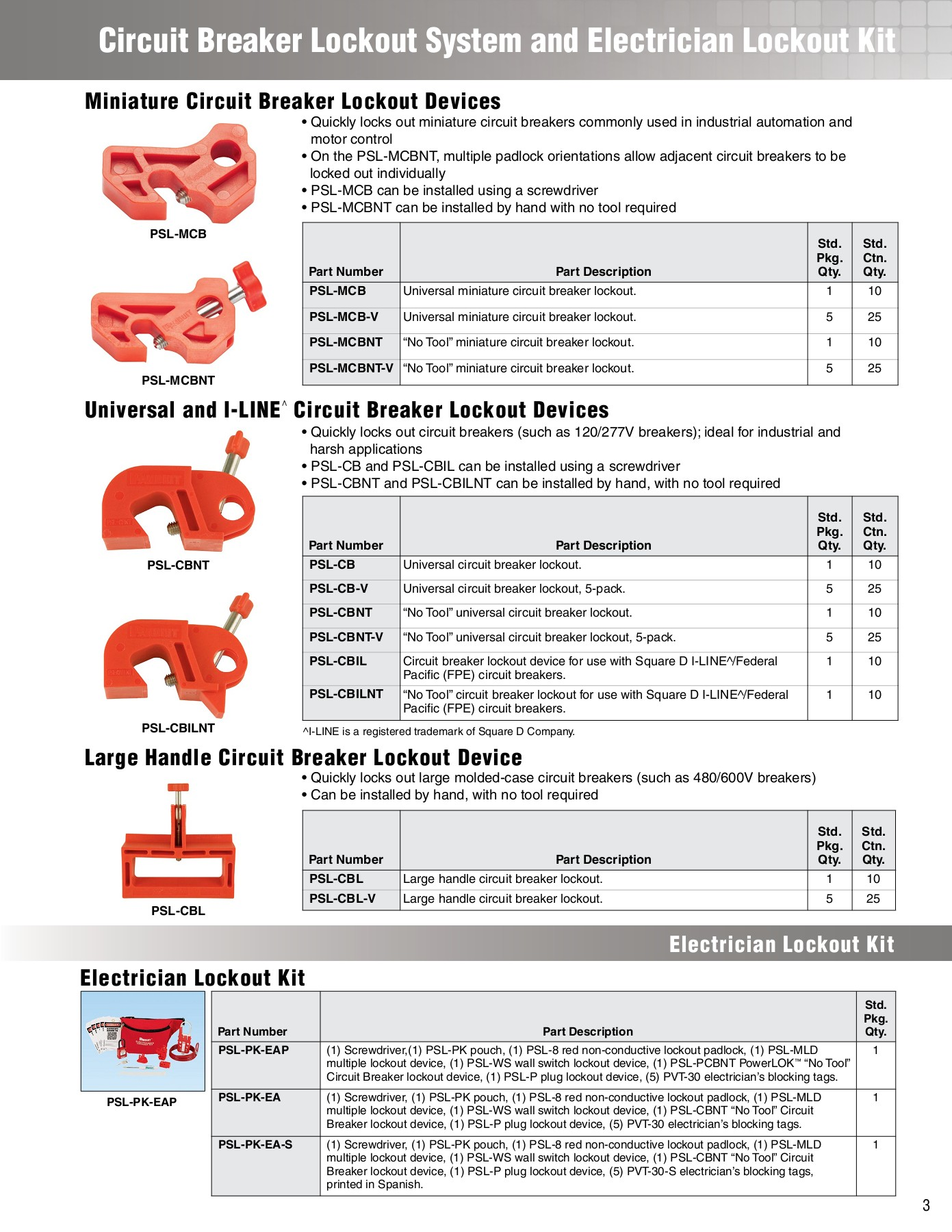 Panduit PSL-CBILNT No-Tool I-Line Circuit Breaker Lockout Device Red
