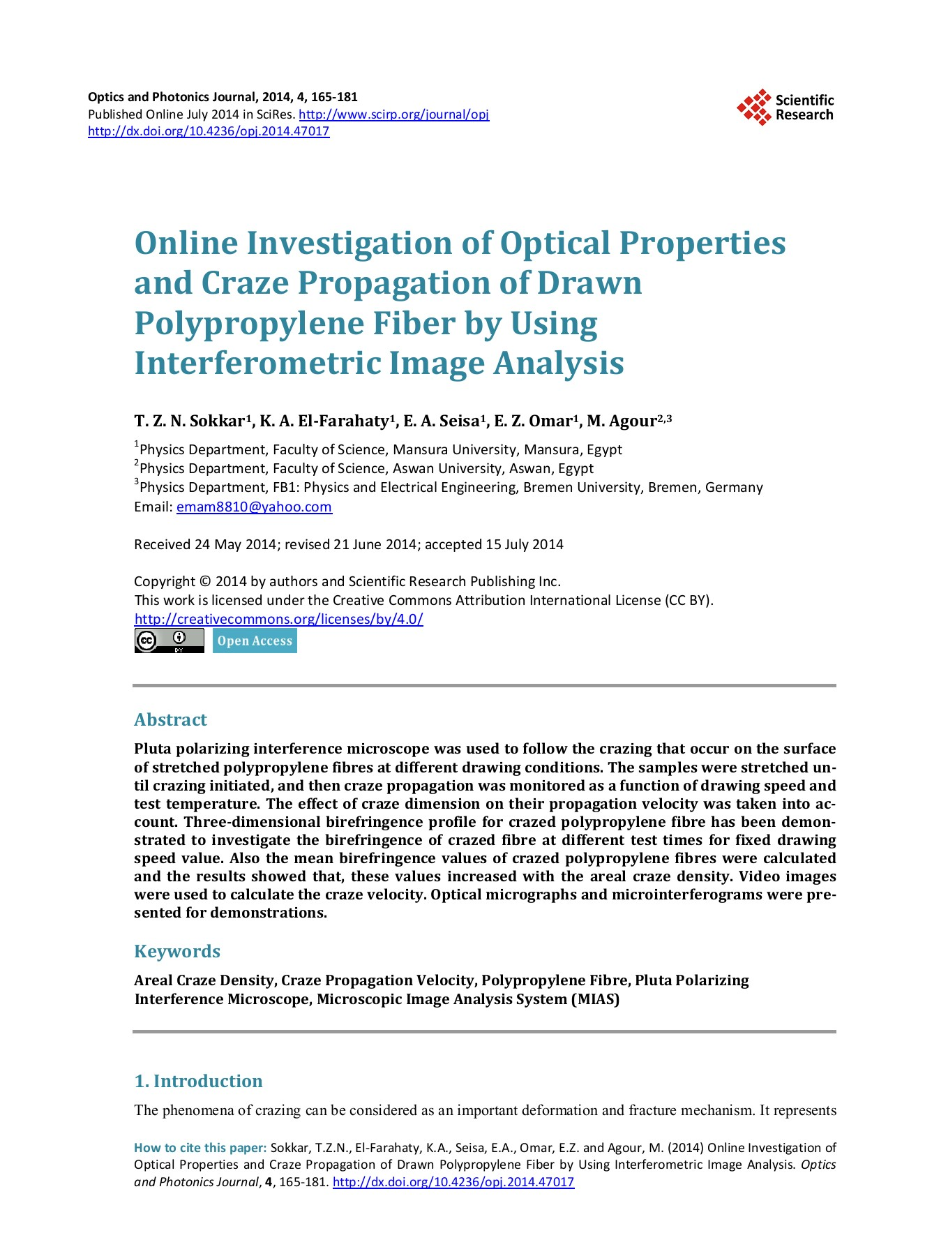 Online Investigation of Optical Properties and Craze     Pages 1