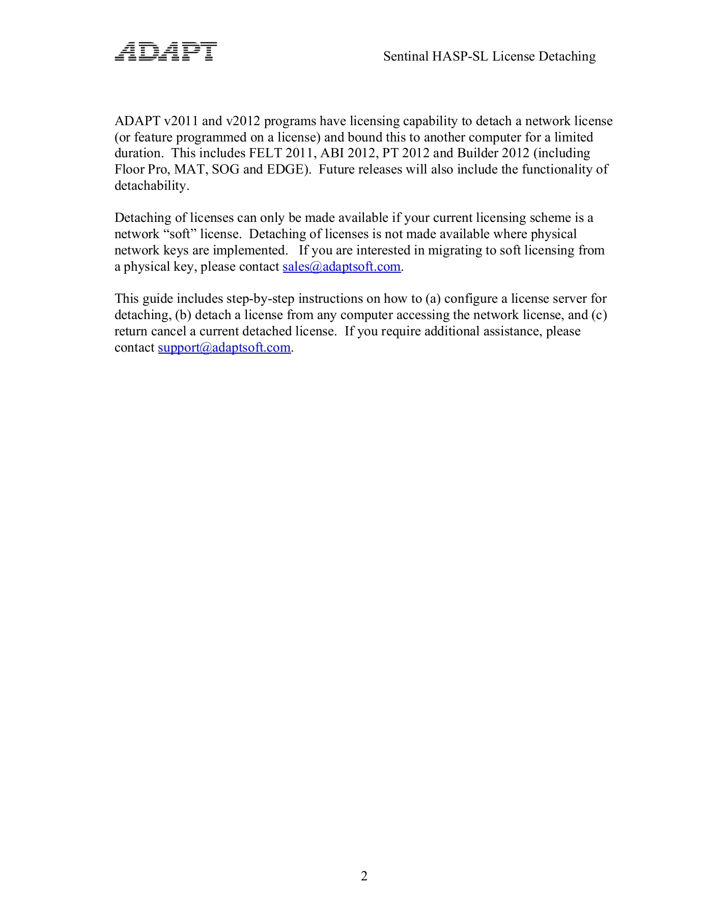 Sentinel HASP-SL Network Licensing Pages 1 - 8 - Text