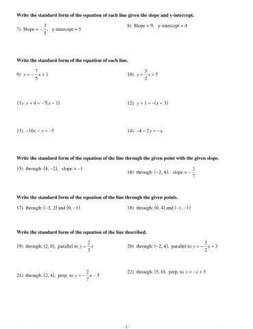 Review Linear Equations Pages 1 - 4 - Text Version | AnyFlip