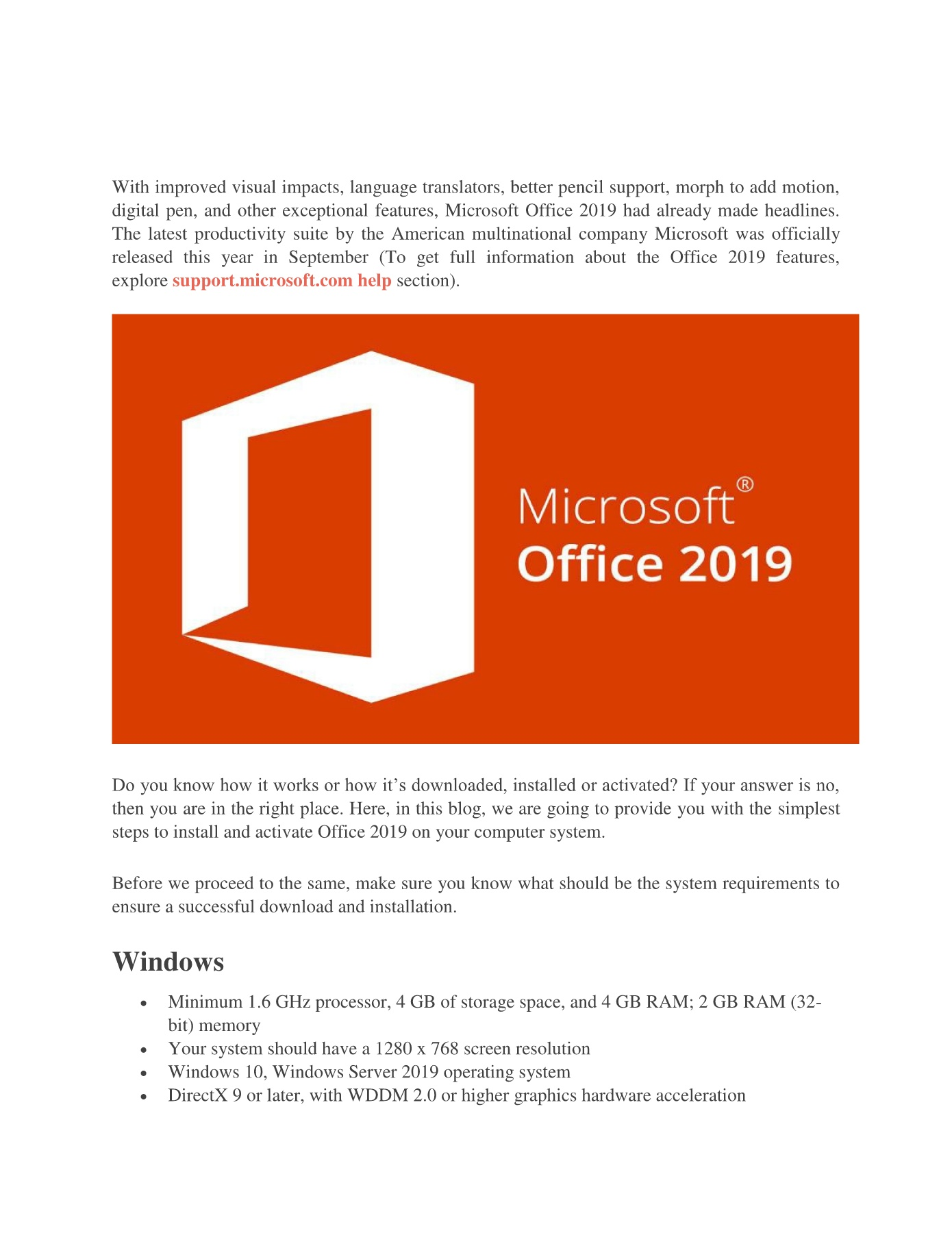 Guide to install MS Office 2019 | 1844-797-8692