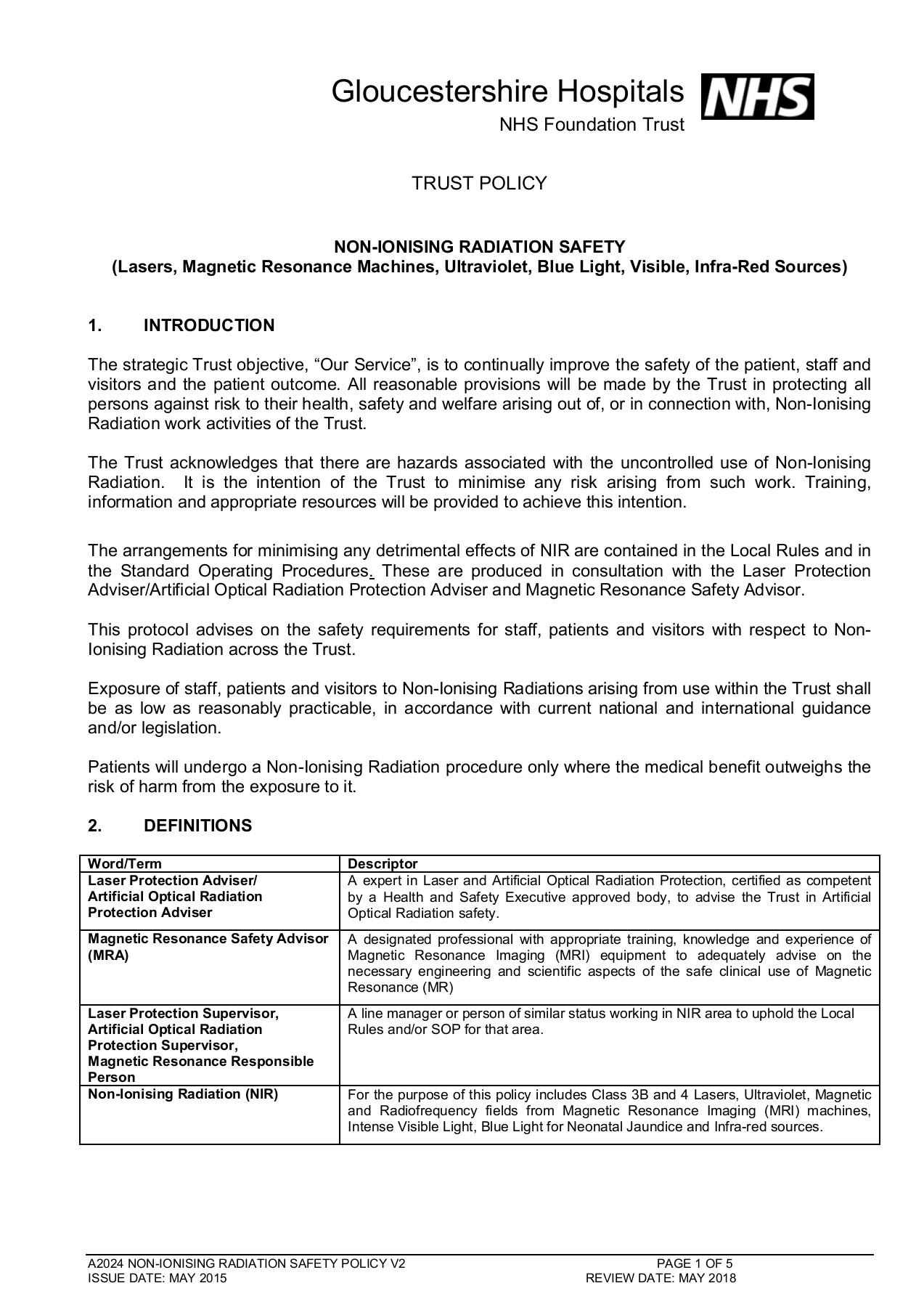 NON-IONISING RADIATION SAFETY 1  INTRODUCTION Pages 1 - 5
