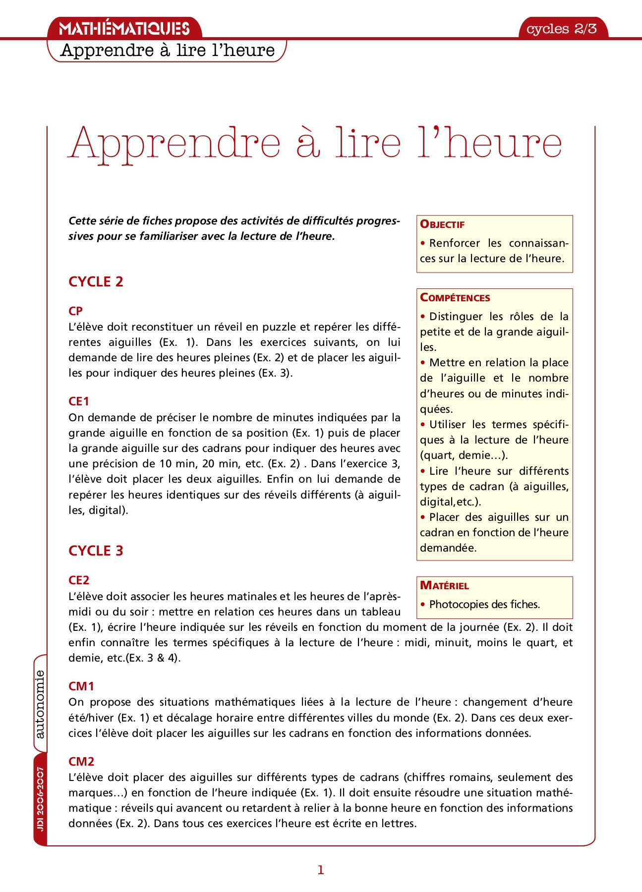 Exercices Lire L Heure Cp