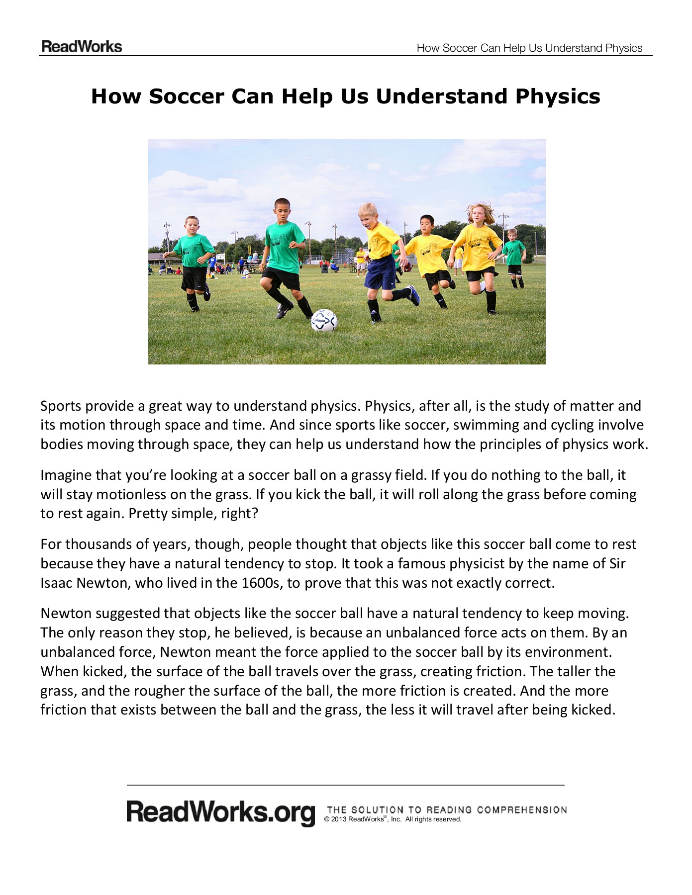 How Soccer Can Help Us Understand Physics - Denton ISD