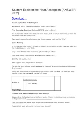 Feel The Heat Gizmo Answer Key - Home Student