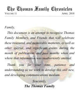 April 2018 - Thomas Family Chronicles Pages 1 - 25 - Text
