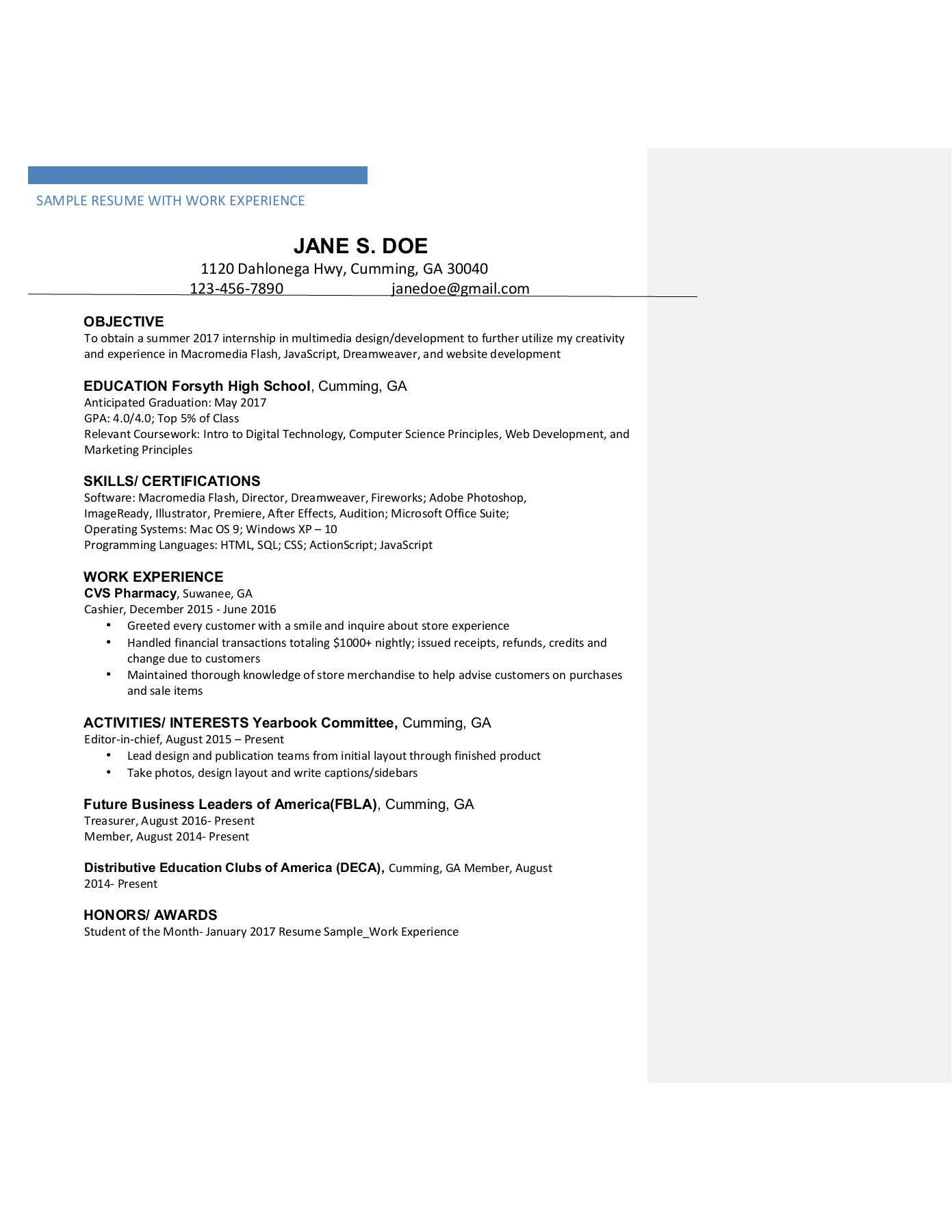 Resume and Cover Letter IDT
