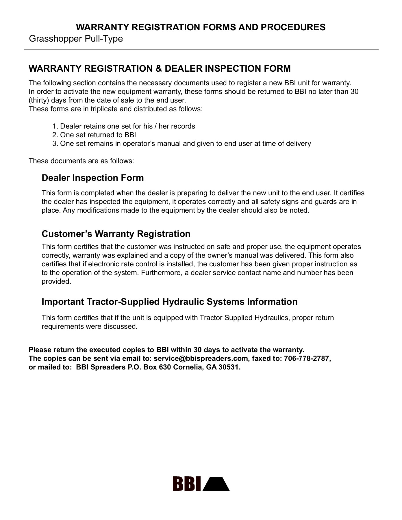 WARRANTY REGISTRATION FORMS AND PROCEDURES Grasshopper     Pages 1