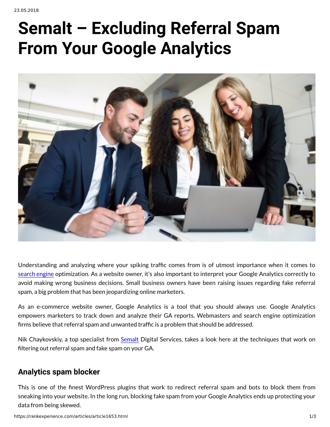 Semalt – Excluding Referral Spam From Your Google Analytics Pages 1