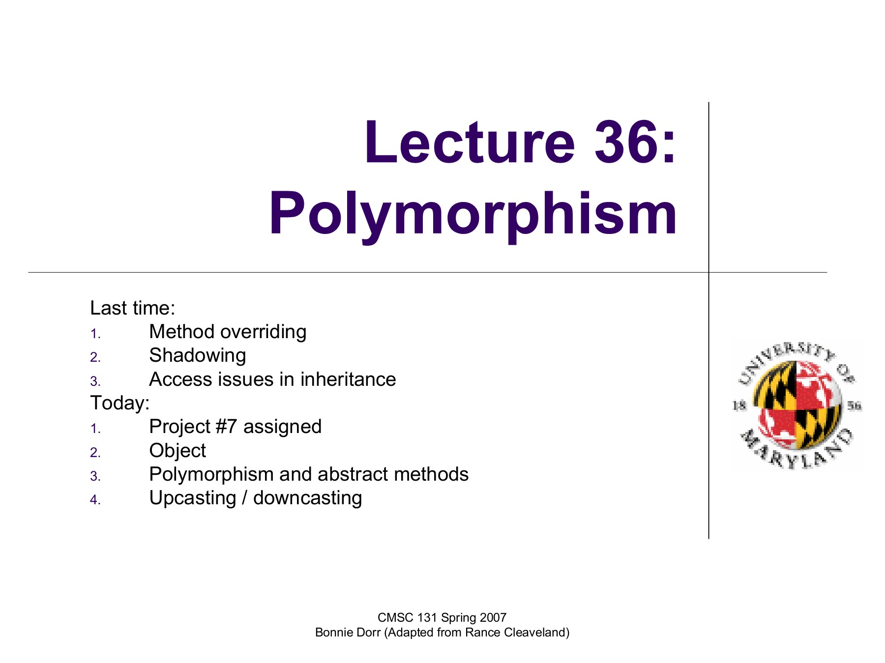Lecture 36: Polymorphism