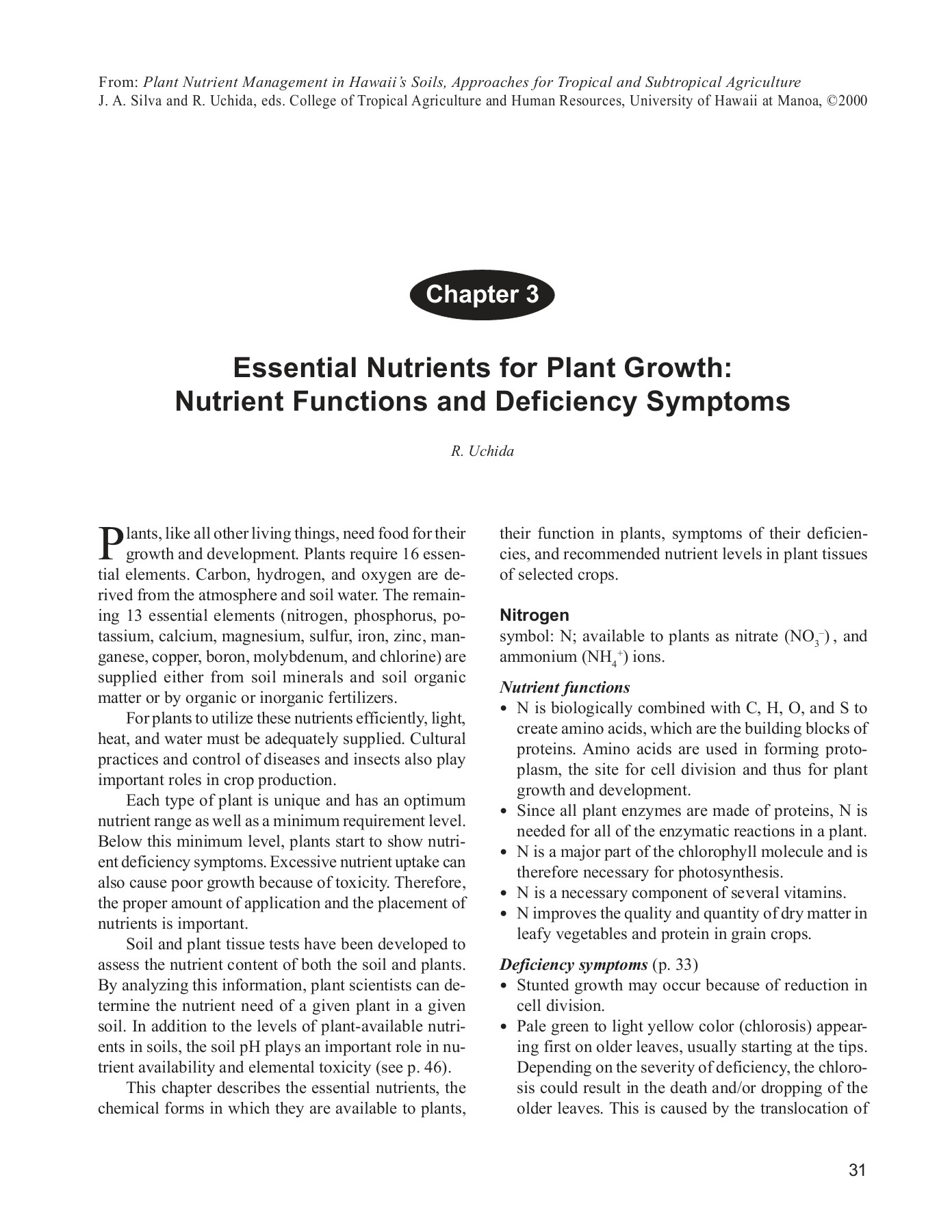 Essential Nutrients for Plant Growth: Nutrient Functions     Pages 1