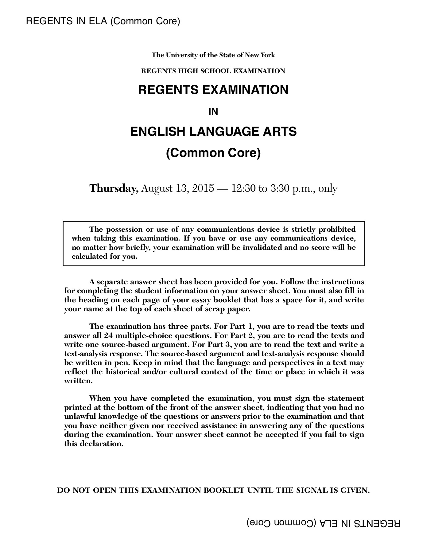 nysed essay booklets