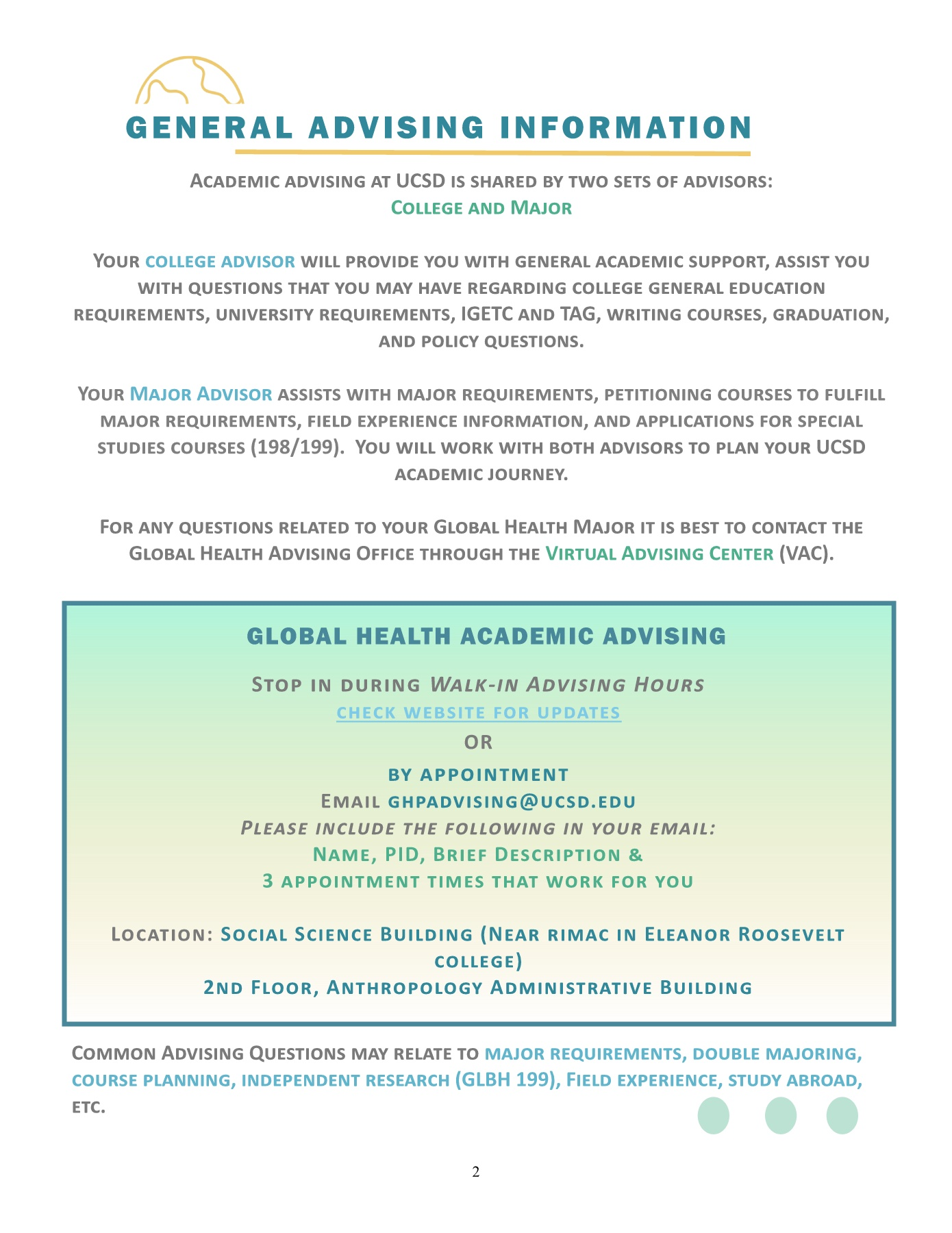 2018-19 Global Health Advising Guide Pages 1 - 17 - Text