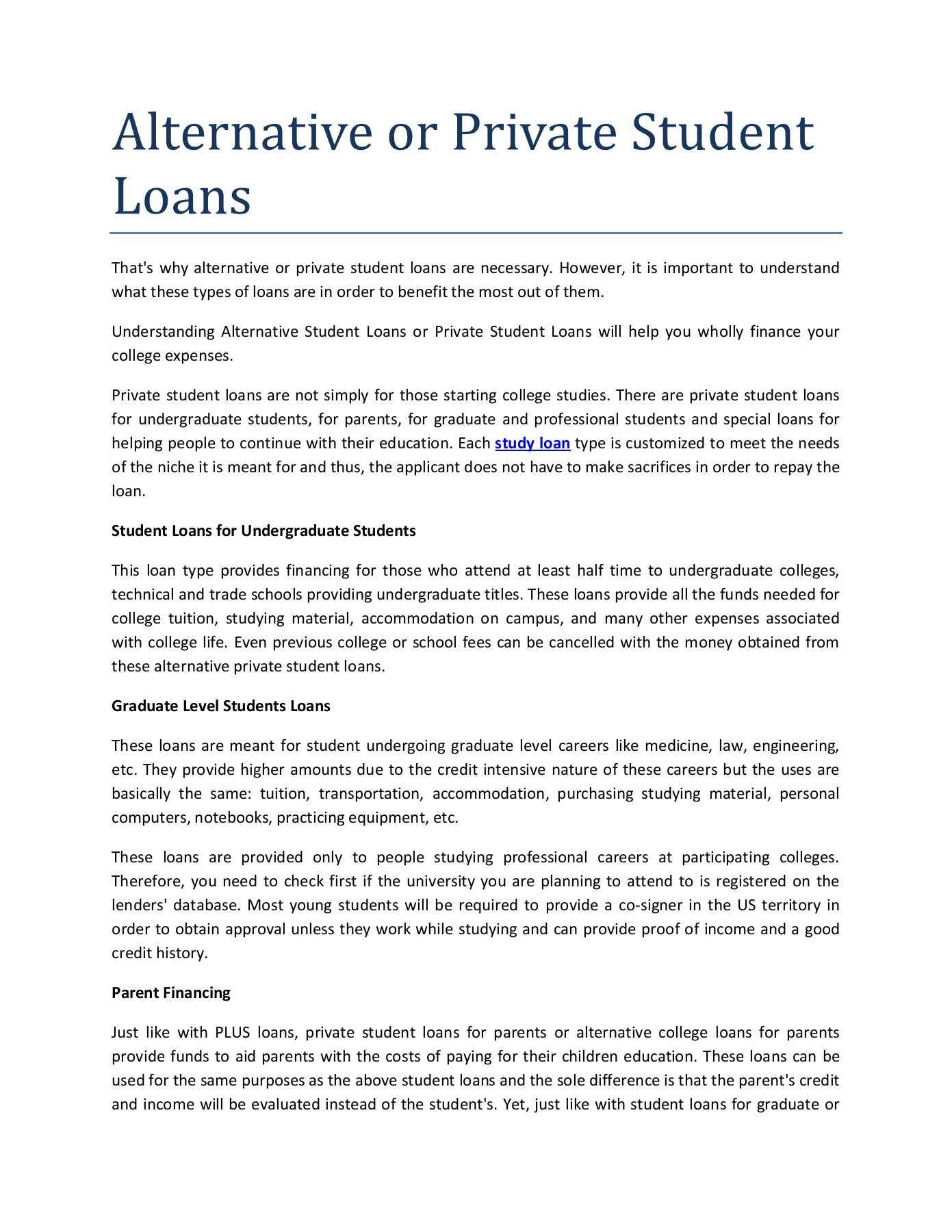 Private Student Loans >> Alternative Or Private Student Loans