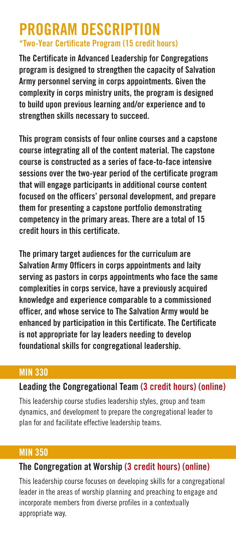 Certificate In Advanced Leadership For Congregations